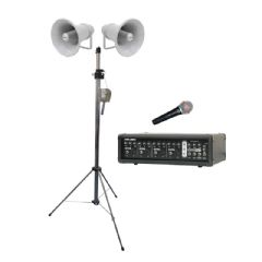 Outdoor PA 2 x Speakers with Stand and Amplifier and Microphone  (Hire Cost per Day)